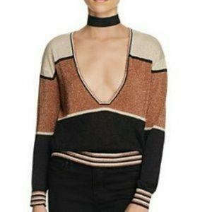 Free People Gold Dust metallic colorblock sweater